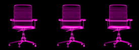 X-ray of three ergonomic chairs