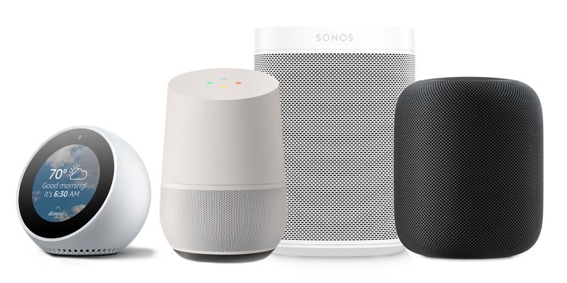 A selection of voice assistants
