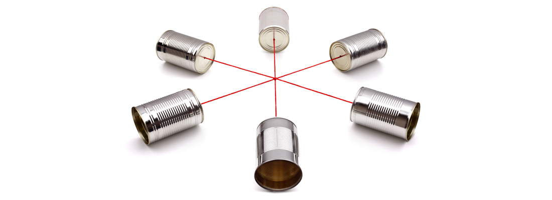 Six tin cans connected by string to form a walkie-talkie conference system