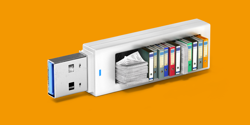 A USB stick filled with books, files and folders