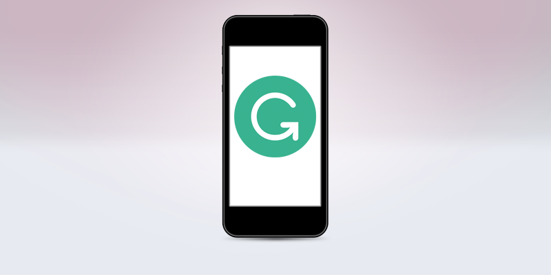 Grammarly logo on a smartphone screen