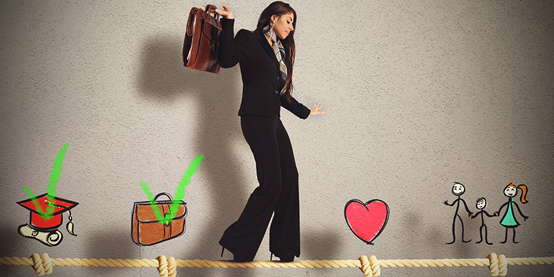 A business woman holding a bag is walking over a tightrope